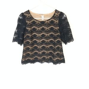 Forever 21 Black Lace Crop Loose Boxy Blouse M